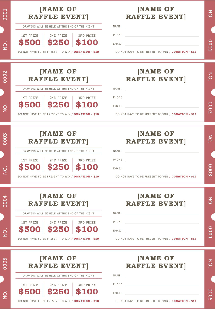 Raffle ticket poster template free