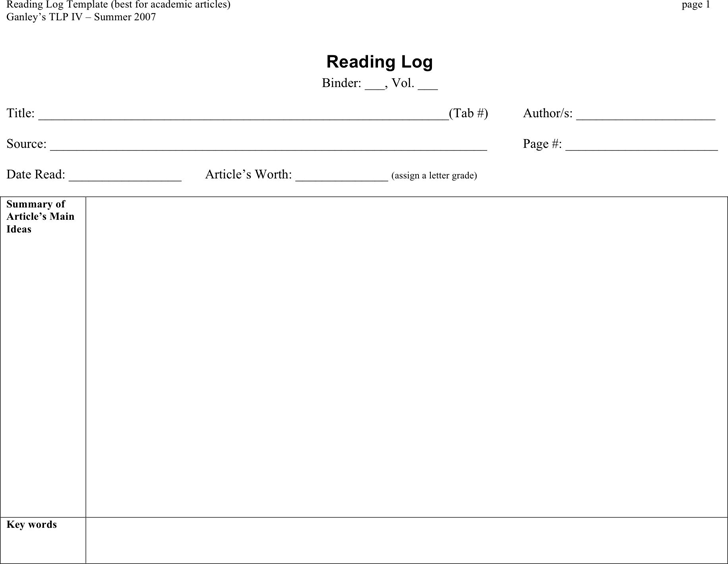 Reading Log Template