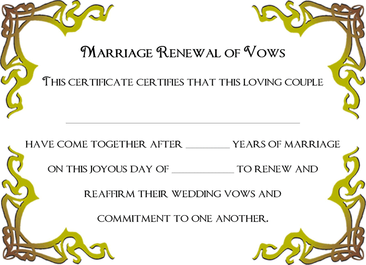 Renewal of Marriage Vows Certificate