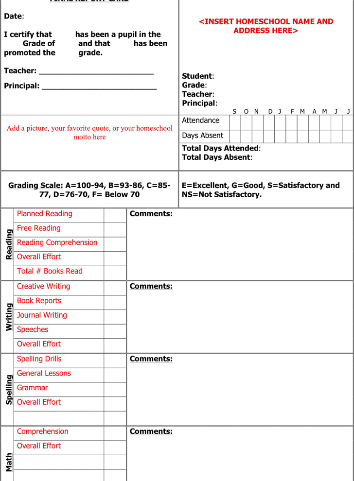 Report Card Template 1