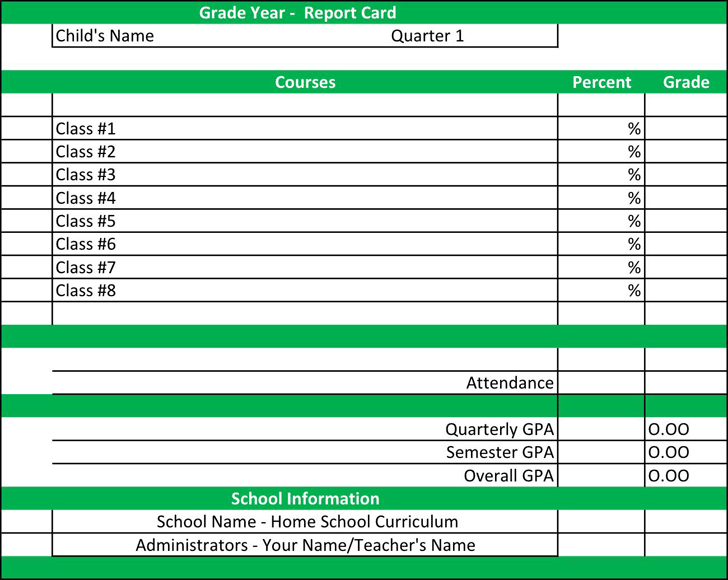 Report Card Template 2