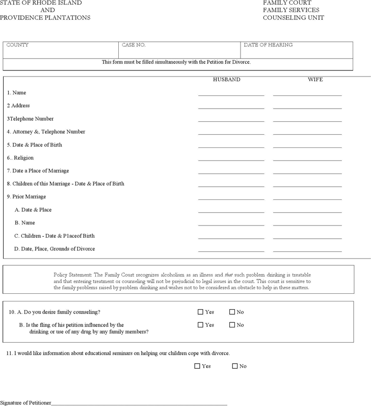Rhode Island Family Services Counseling Unit Form