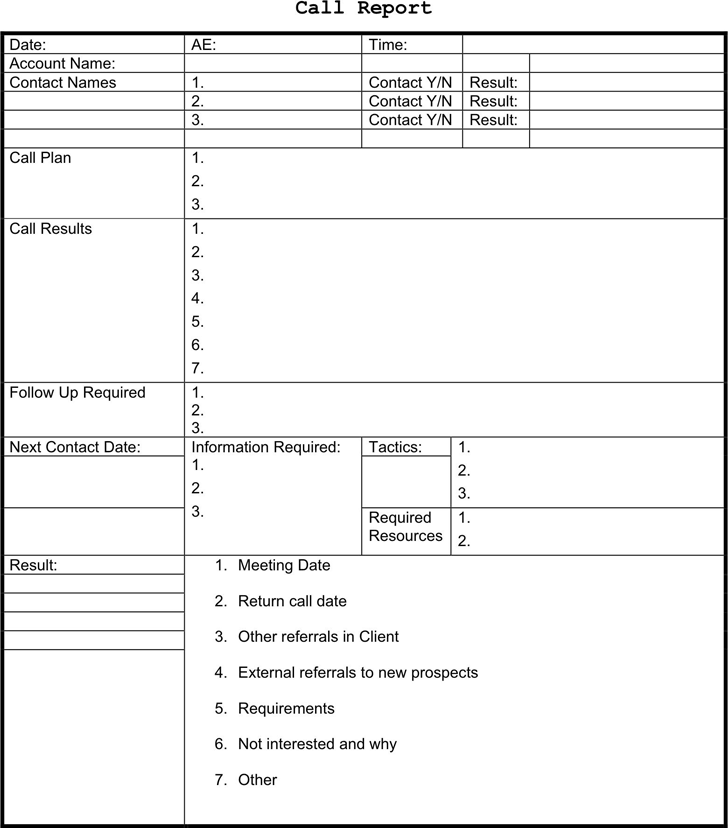 Sales Call Report Template 1
