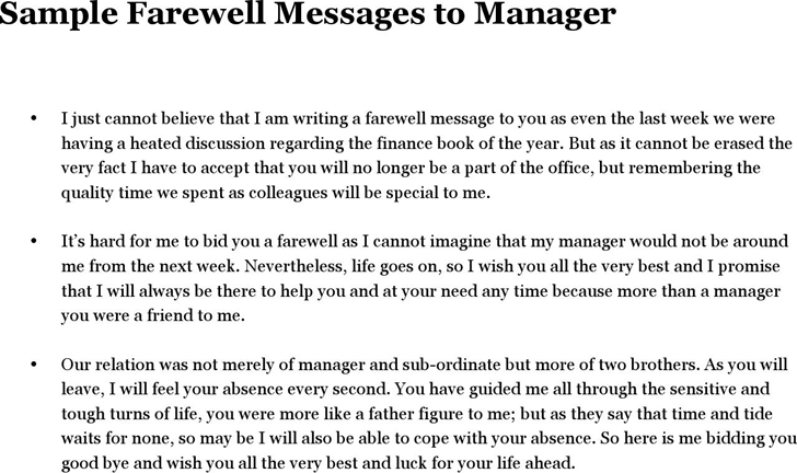 Sample Farewell Messages to Manager