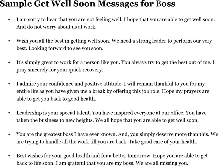 Sample Get Well Soon Messages for Boss