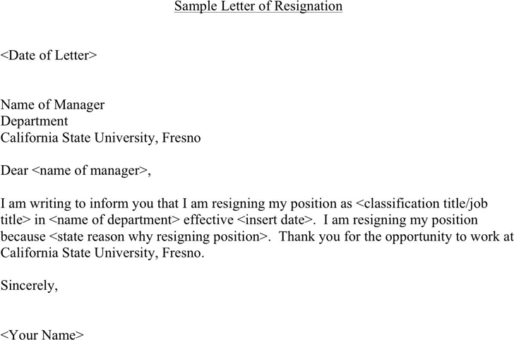 Sample Letter of Resignation 2