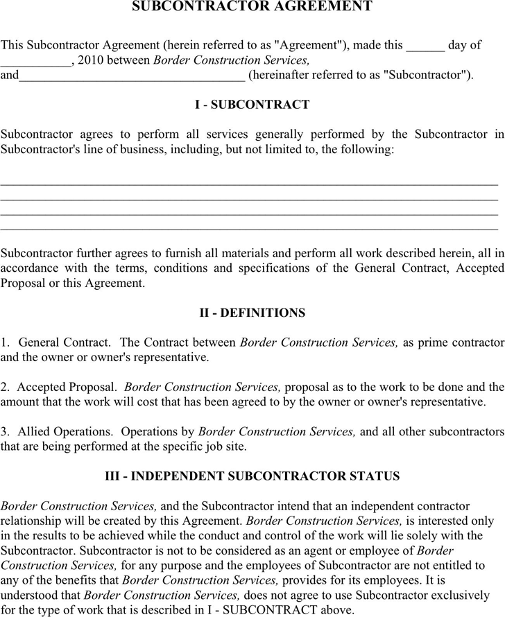 Subcontractor Agreement 1