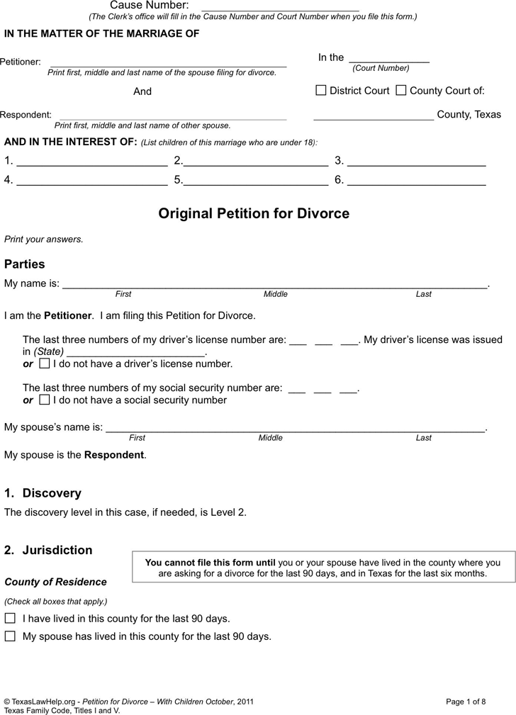 Texas Divorce Petition Form 1 (With Children)