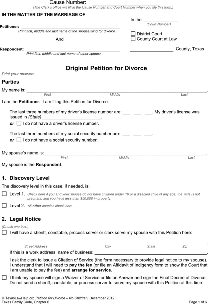 Texas Divorce Petition Form 2 (Without Children)