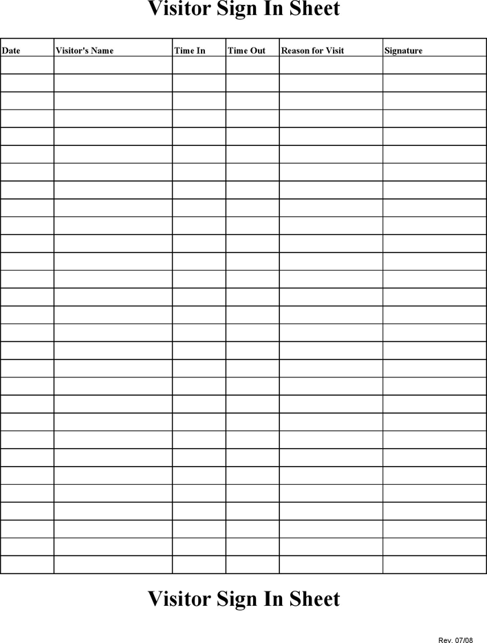 All About Printable Sign In Sheet Visitor Class And Meeting Sign