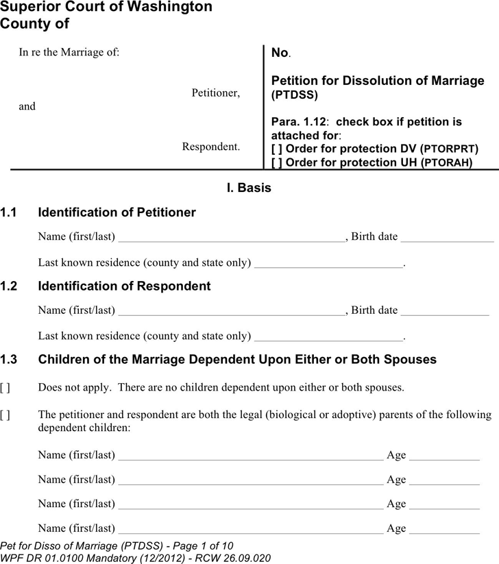Washington Petition For Dissolution of Marriage