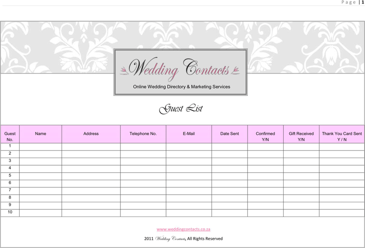Wedding Guest List Template 2