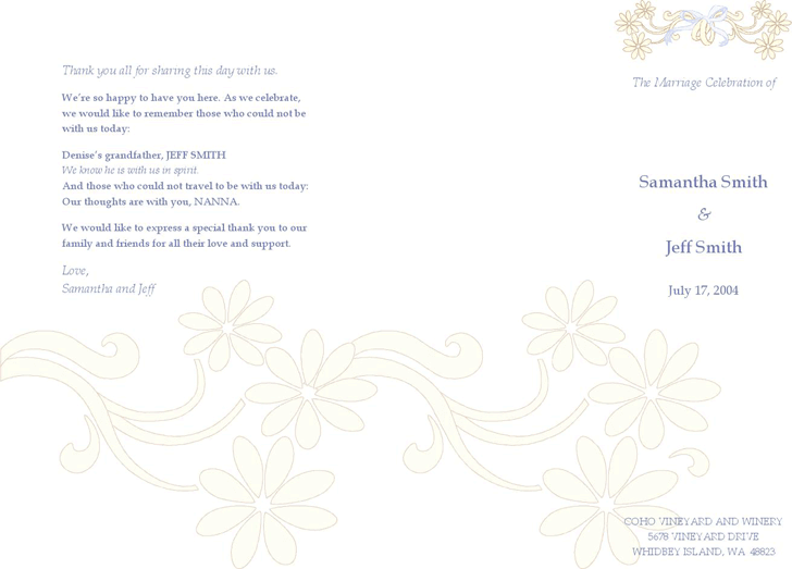 Wedding Program Template 1
