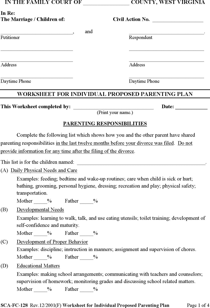 West Virginia Worksheet for Individual Proposed Parenting Plan